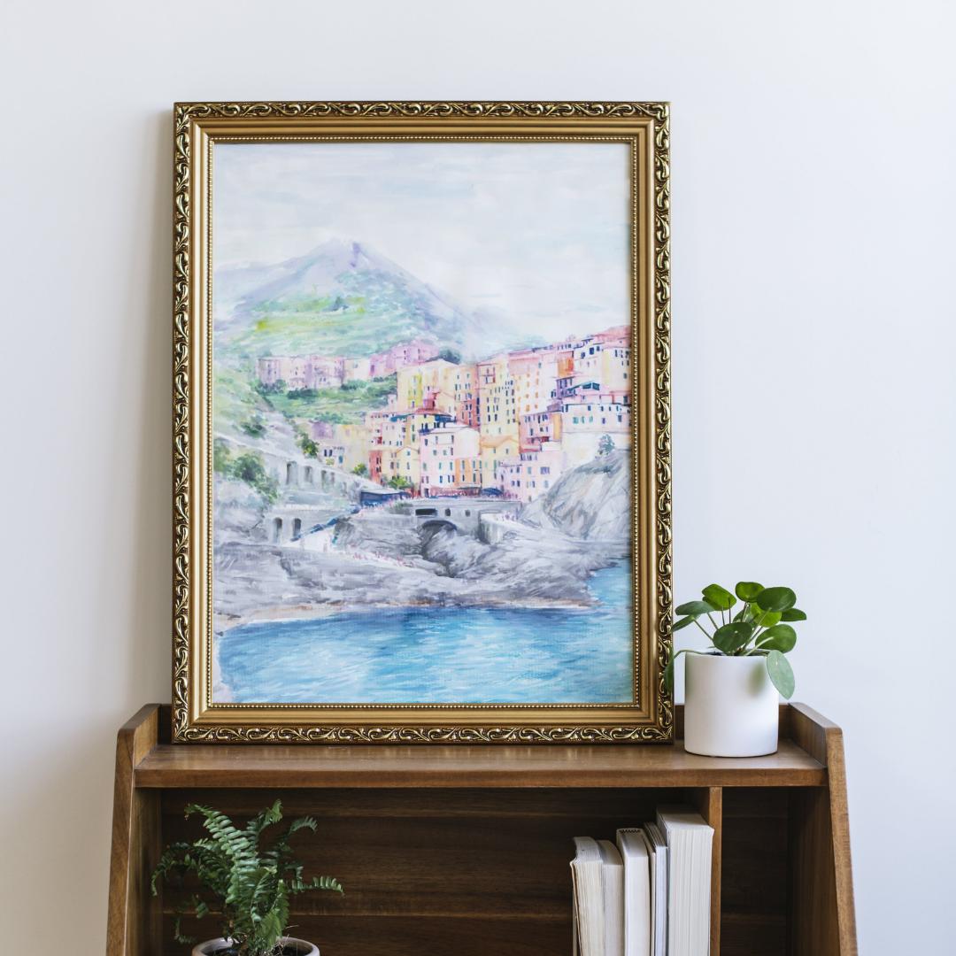 santorini-photo-to-travel-painting-framed-on-desk
