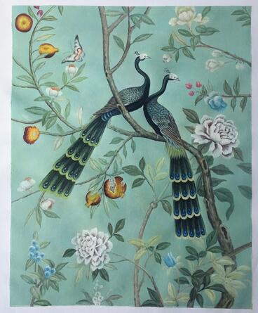 flower-butterfly- peacock-painting