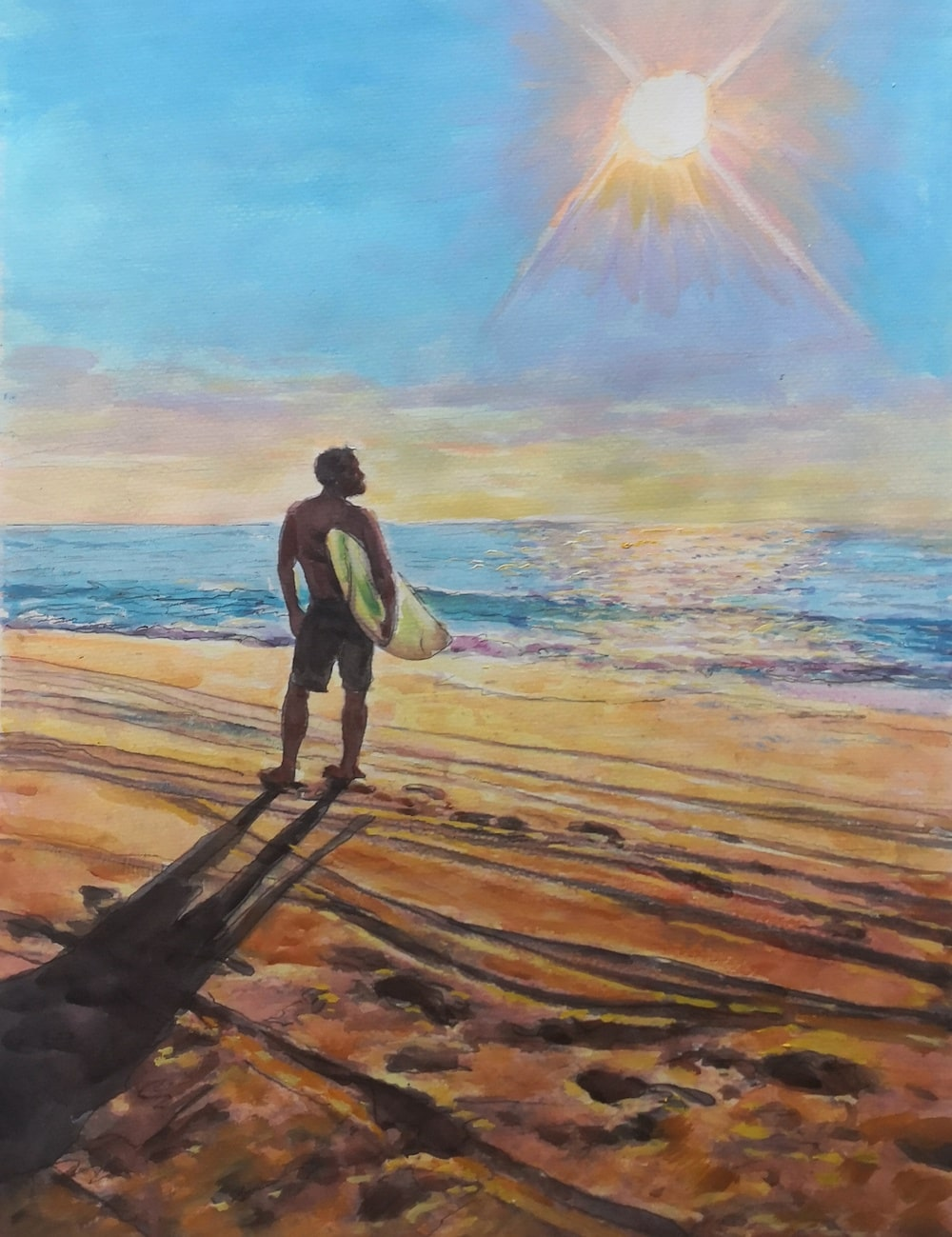 1291-guy-on-beach-photo-to-watercolor-painting