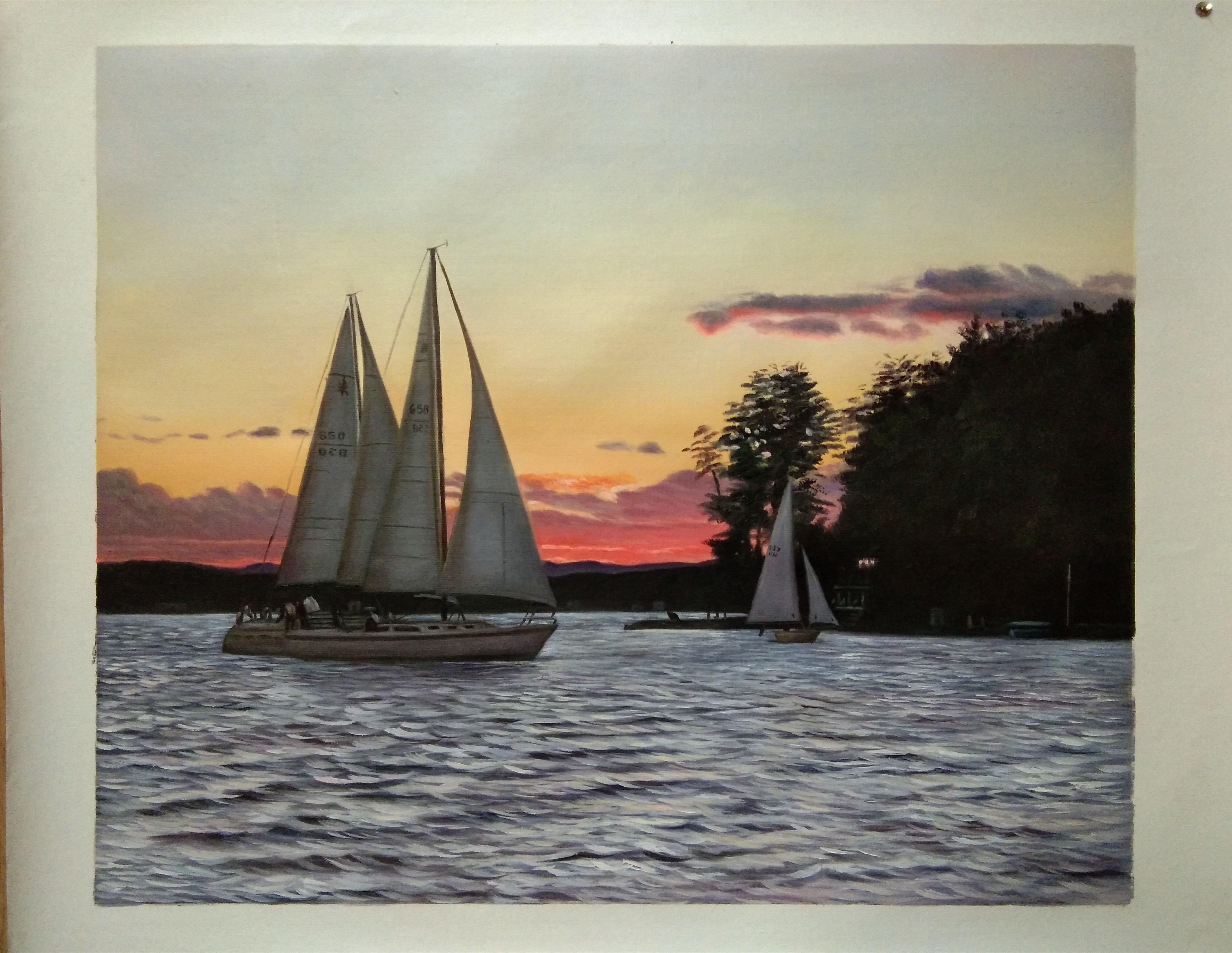 1340- Final Painting_sunset sail