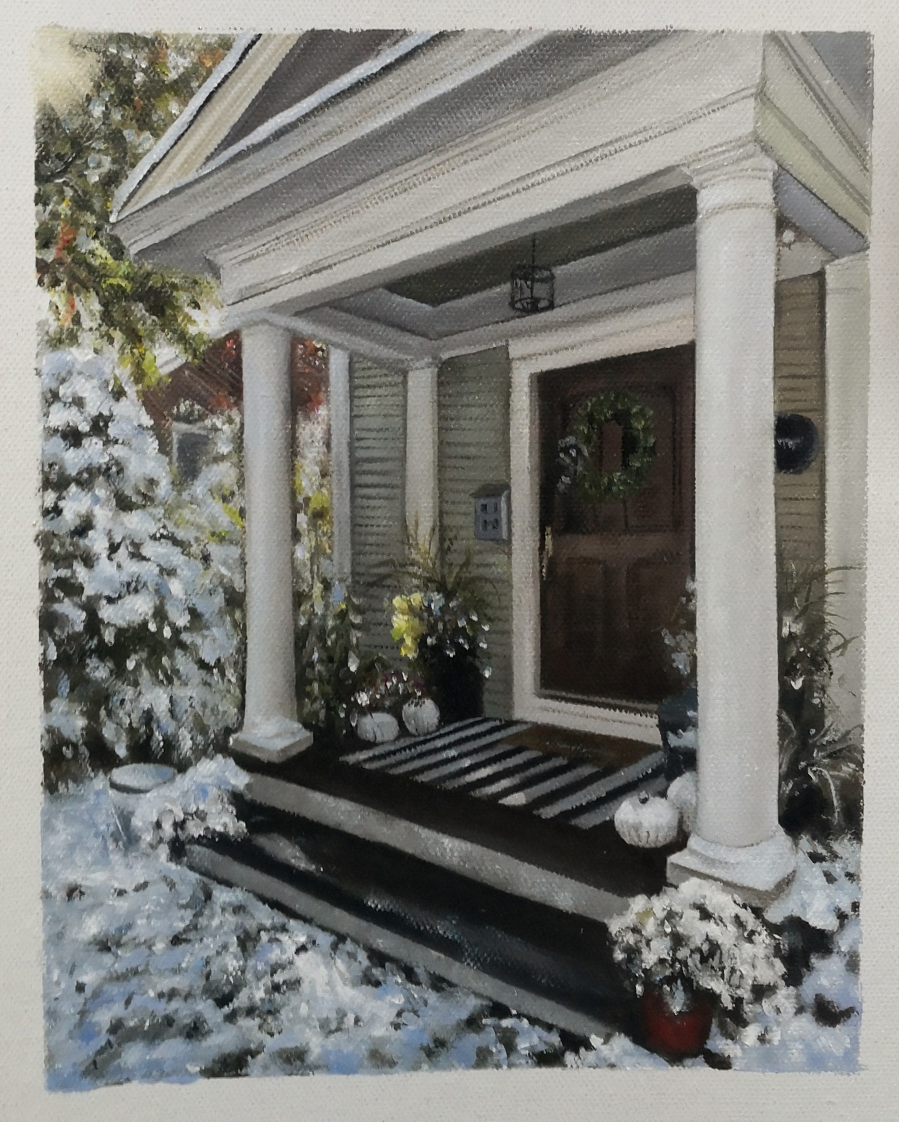 paintru-original-oil-painting-of-a-house-doorstep-in-snow
