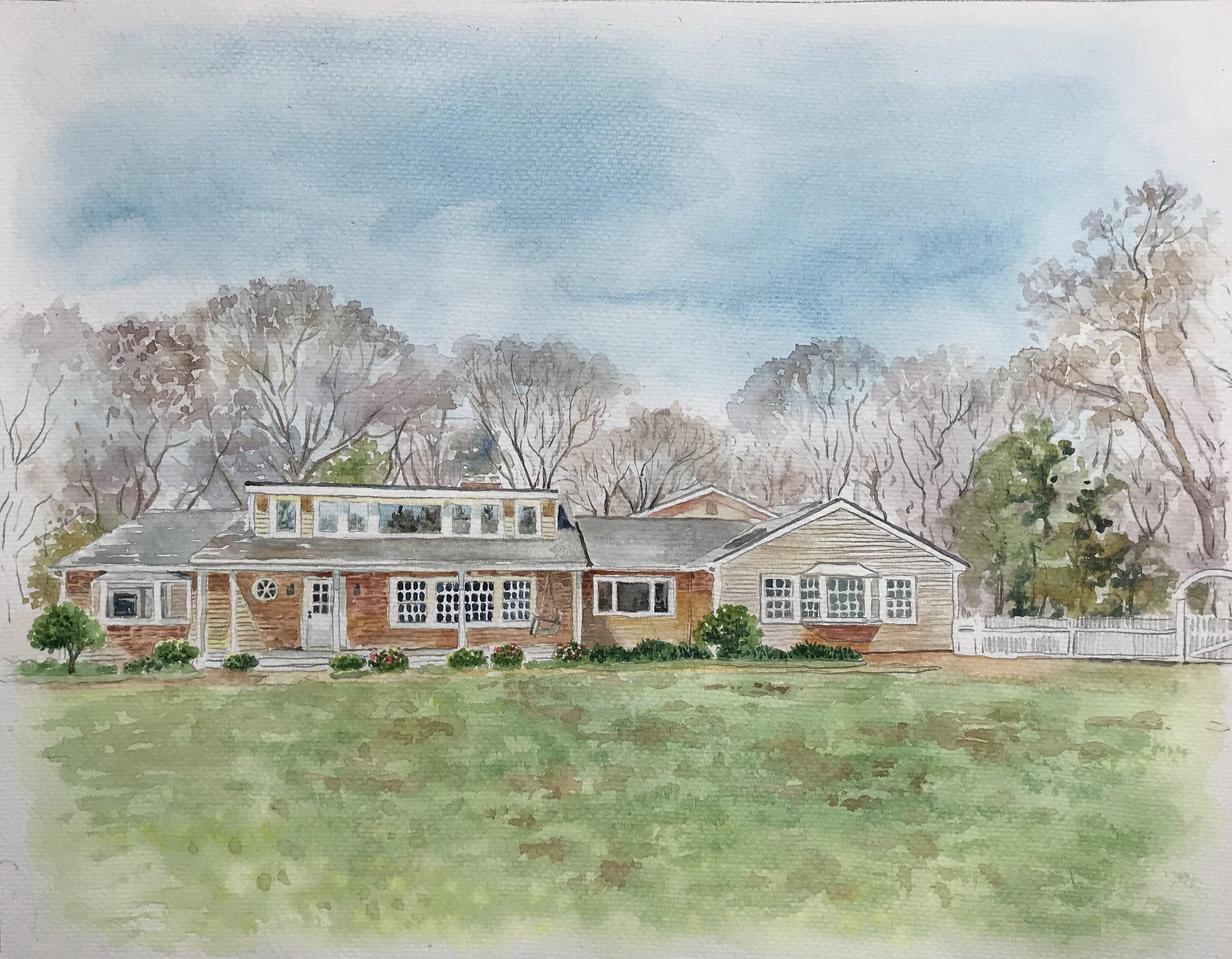 watercolor-house-portrait-memorable-gift-paintru-hamptons