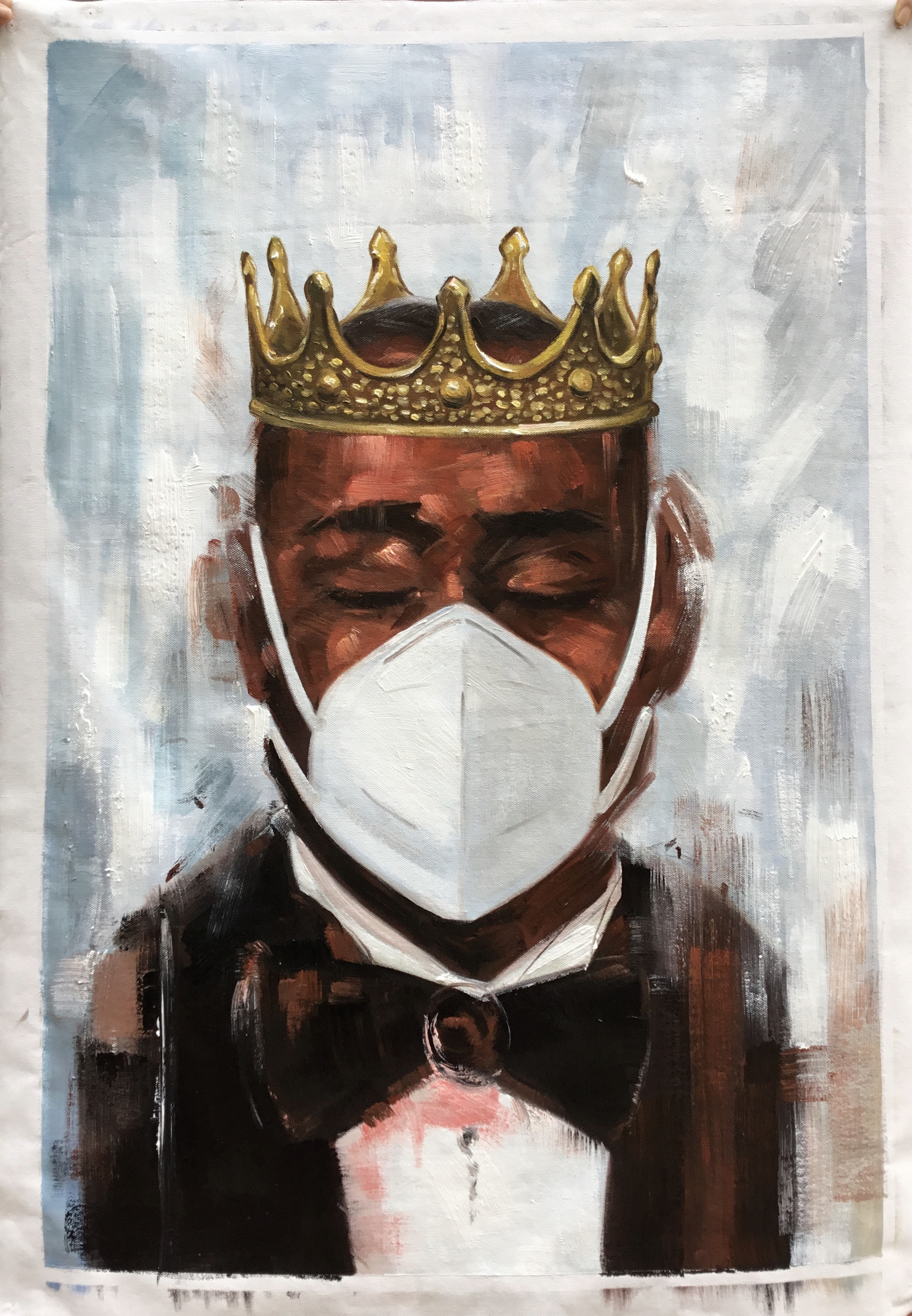 1231_Man in mask and crown_24x36inch  Acrylic painting