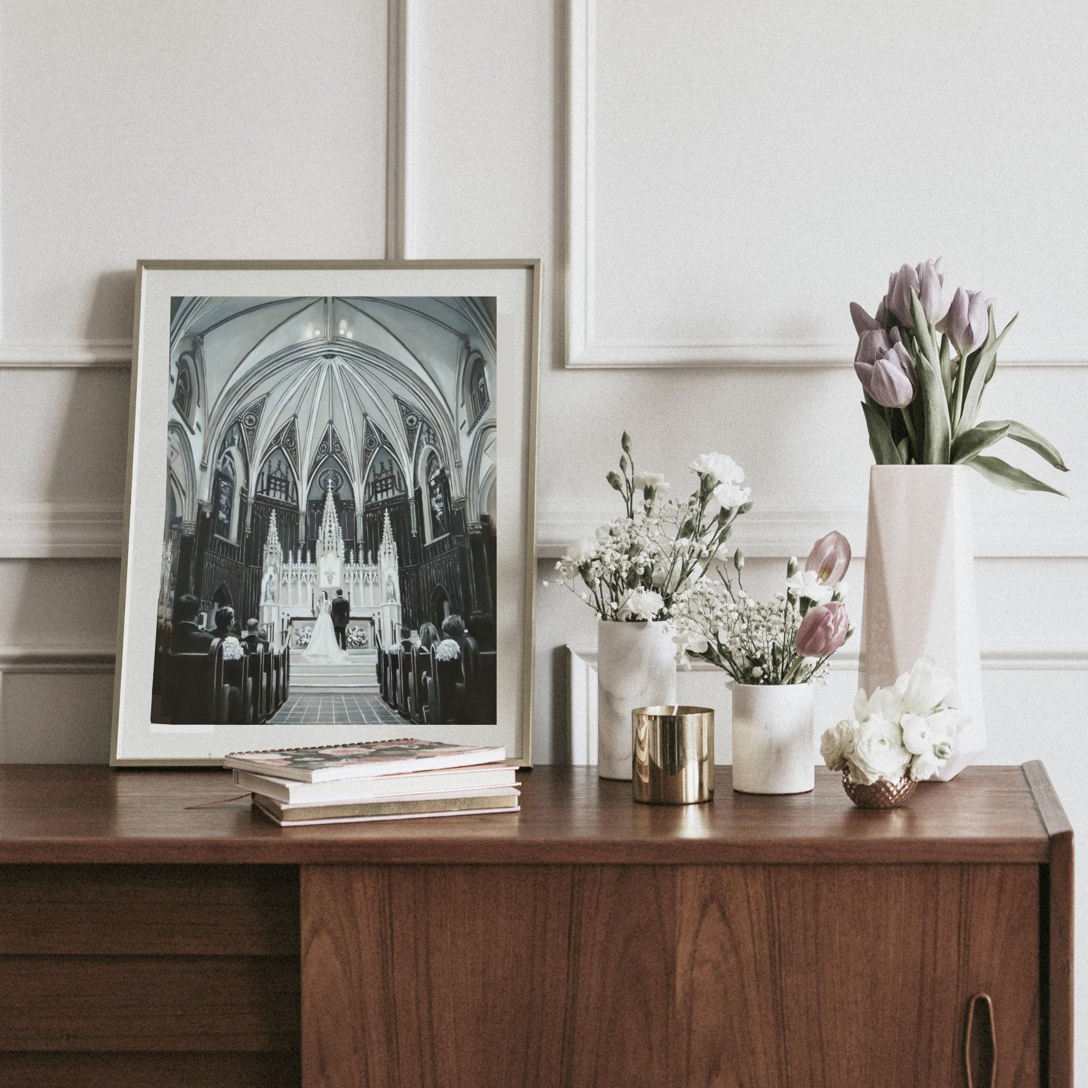 blackandwhite-cathedral-wedding-painting-min