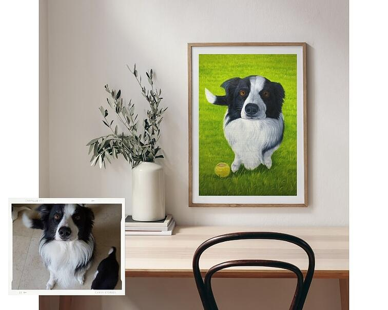 paintru-custom-pet-oil-painting-bullet-grass-background