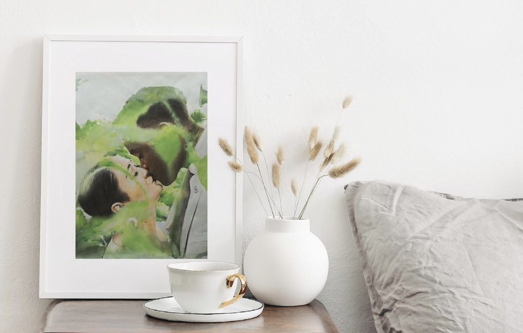 custom-wedding-painting-artwork-turn-photos-into-art-watercolor-in-bedroom