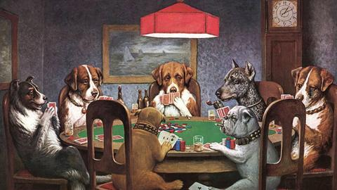 """C.M. Coolidge's Famous """"Dogs Playing Poker"""" Painting"""